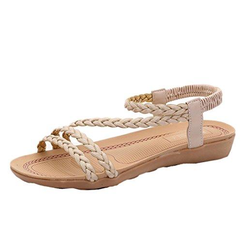 ® Beige playa Ouneed de casa mujer de vestir sandalias plana verano Sandalias tejer zapatos Sandalias Uqgf6x
