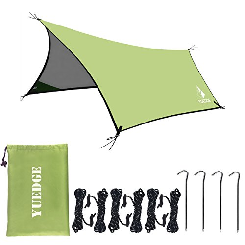 YUEDGE 13 Ft Rain Fly Traps Waterproof Camping Tent Tarps Hammock Rain Fly Shelter Sunshade Rope Stakes, Army, 10 x 13, XL=L400XW300 cm, Green
