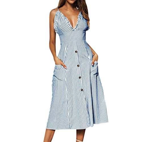 NEARTIME Cami Casual Dress for Women-Summer Bohemian Spaghetti Strap Skirts Button Swing Midi Dress with Pockets Light Blue