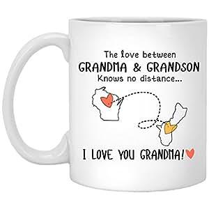Wisconsin Guam The Love Between Grandma and Grandson Knows No Distance - Ceramic Coffee/Tea Mug 11 oz - White