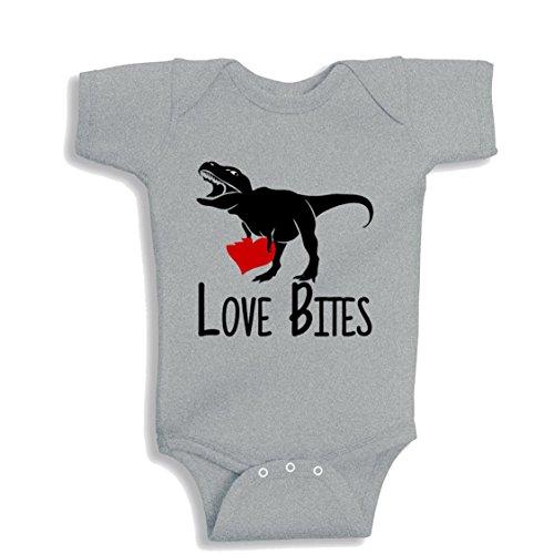 NanyCrafts Baby's Love Bites T-Rex Dinosaur baby bodysuit 12M Heather - 923 Heather