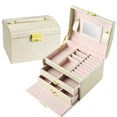 Travel Jewelry Organizer Box - Accessories Display Case, Croc-Embossed Leather, Lockable - Storage and Holder for Necklace, Earrings, Ring, Watch, Bracelet - 3-Layer, 2-Drawer, Mirror - Gifts for Her from DREXFORM