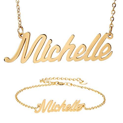 - HUAN XUN Michelle Symbol Name Pendant Necklace & Bracelet Jewelry Set