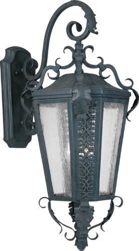 Maxim Lighting 30106CDCF Cortez 5-Light Outdoor 34-Inch Wall Lantern, Country Forge Finish with Seeded Glass
