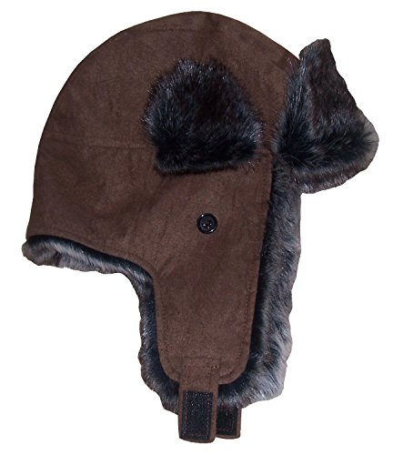 N'Ice Caps Big Little Boys Baby Taslon Trapper Winter Hat Large Flaps (Brown Suede, 18-30 Months)
