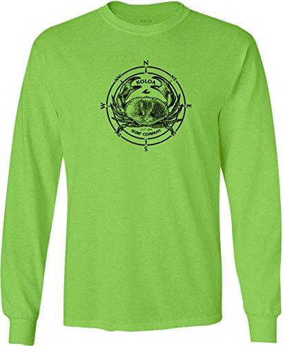 (Koloa Surf -Black Crab Long Sleeve Cotton T-Shirt-3XL-Lime/w)