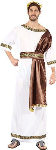 King Prince Fancy Dress Greek God With Brown Sash & Gold Lourel Belt Outfit