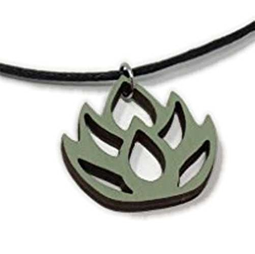 Green Lotus Flower Choker Necklace | Pastel Handmade Natural Wood Pendant Jewelry | Cute Easter Gift for Her