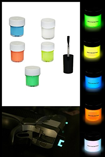 Handgun Night Sight (Ultimate Arms Gear Glow in the Dark Multi Paint, Super Bright Night Sights Vial with Brush for Guns, Pistols, Handguns, Shotguns, Rifles, Blue/Green/Orange/White and Yellow)