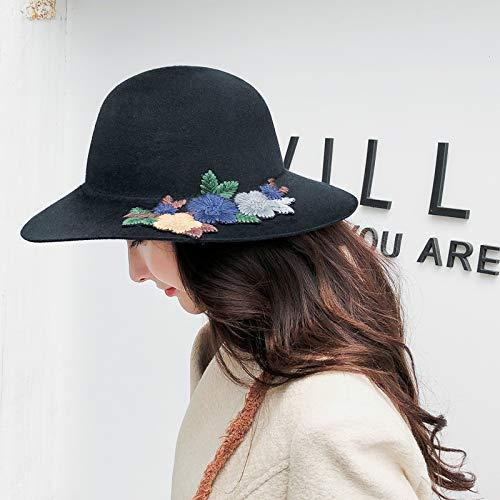 Proteccion Otoño e invierno gorro de lana cuenca flor pescador sombrero  femenino trabajo pesado bordado otoño nombre gran sombrero borde ancho  (Color  ... c9d064170ce