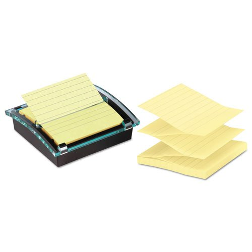 Super Sticky Pop-up Note Dispenser/Value Pack, 4 x 4 Self-Stick Notes,Black