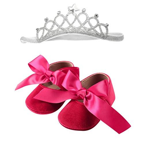 Newborn Baby Girls Bowknot Crib Anti-Slip First Walkers Flannelette Every Step Prewalker Shoes Hair Hoop (hot Pink, 6-12 Months)