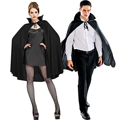 AMSCAN Black Cape Deluxe Halloween Costume Accessories for Adults, One Size -