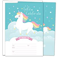 Gooji Unicorn Party Invites - 5x7 Large 25pcs Double Sided Rainbow Unicorn Invitations With 25 Envelopes - Magical Invite Cards For Baby Shower, Baby Registry And Girls Birthday Party Supplies ...