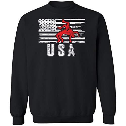 Teechopchop Wrestling US Flag Proud America Vintage USA Wrestler Sweatshirt