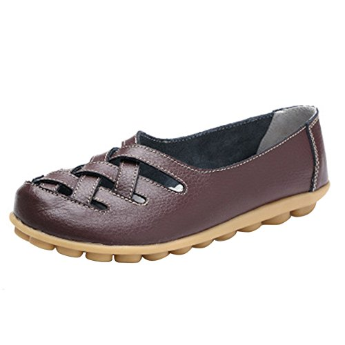 Women's Leather Loafer Casual Flat Shoes Rubber Sole Shoes Coffee