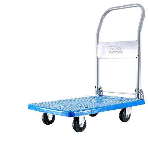 ZHHL Platform Trucks, Hand Trolley Folding Truck Cart Heavy Duty Flat Bed Transport Warehouse Office Garden (Size : A)