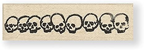 4547 100 Proof Press Row of Skulls rubber stamp