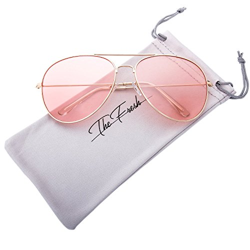 The Fresh Classic Metal Frame Light Color Lens XL Oversized Aviator Sunglasses with Gift Box (3-Glod, - Light Pink Sunglasses