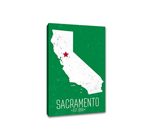 Sacramento, California - Capital Pride State Outline - 24x36 Gallery Wrapped Canvas Wall Art