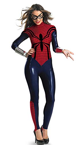 BADI NA Girl Womens Adult Superhero Style Deluxe Spider Girl Catsuit Costume Cosplay Bodysuit Red M ()