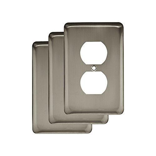 (Franklin BrassW10249V-SN-C Stamped Steel Round Single Duplex Outlet Wall Plate / Switch Plate / Cover, Satin Nickel, 3-Pack)