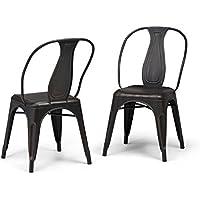 Simpli Home Merritt Metal Dining Arm Chair, Distressed Black (Set of 2)