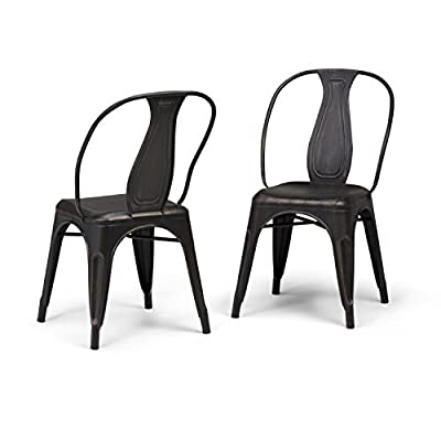 Simpli Home AXCMER-01-DBL Merritt Industrial Metal Dining Arm Chair (Set of 2) in Distressed Black, Copper , Fully Assembled - Price for 2 pieces per carton Distressed Black and Copper powder coated finish Constructed using iron sheeting and tubing with curved back with vertical slat - kitchen-dining-room-furniture, kitchen-dining-room, kitchen-dining-room-chairs - 41NspRaQhiL. SS400  -