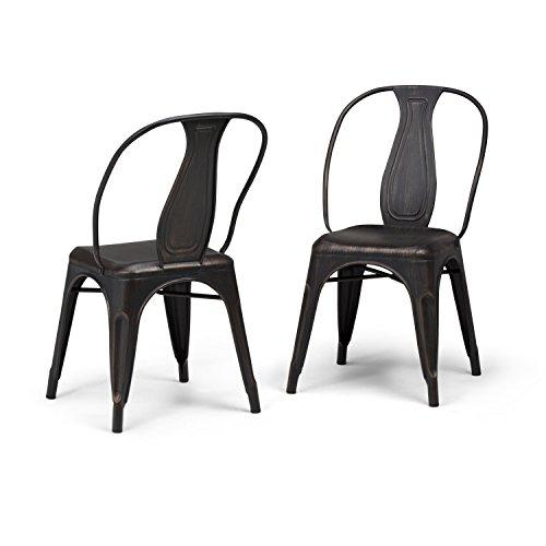 Simpli Home AXCMER-01-DBL Merritt Industrial Metal Dining Arm Chair (Set of 2) in Distressed Black, Copper , Fully Assembled (Home Merritt Furniture)