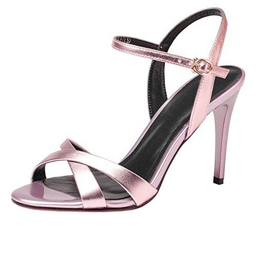Ouvert Aiguille Sandales Bout TAOFFEN Talon à Pink Femmes Pw76xqEa