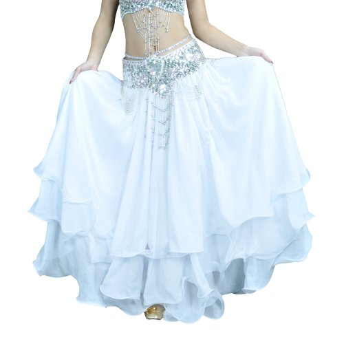 BellyLady Belly Dance Skirt Halloween Tribal Chiffon Tiered Maxi Full Skirt-White -