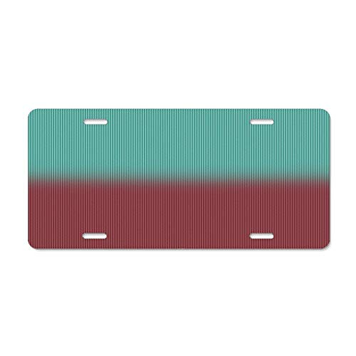 Kingsinoutdoor Peacock Green and Raspberry Red Herringbone Weave Pattern Novelty Aluminum License Plate Decorative Front Cover 6 X 12 inches