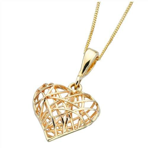 Jaula de alambre tejido de oro de corazón collar de alta costura ...
