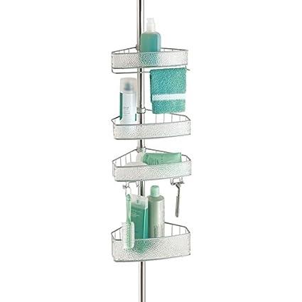 mDesign Organizador de ducha – Cesta de ducha sin taladro con dos alturas – Estante  para ef468394f613