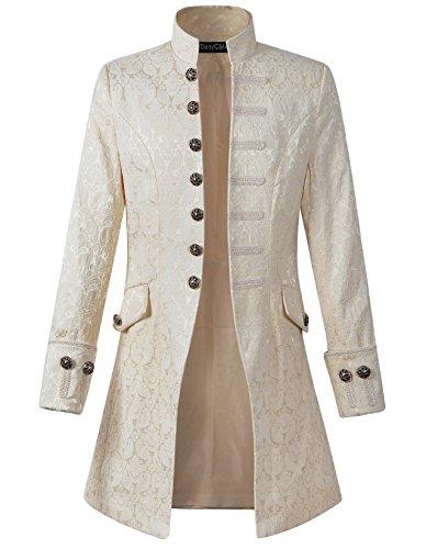 DarcChic Mens Velvet Goth Steampunk Victorian Frock Coat (L, Cream)
