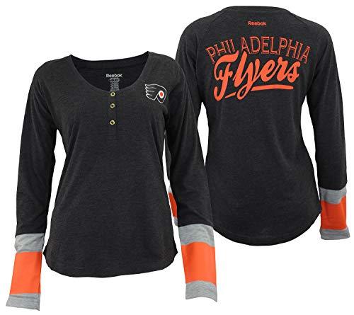 Reebok NHL Women's Striped Jersey Henley Shirt, Philadelphia Flyers Small