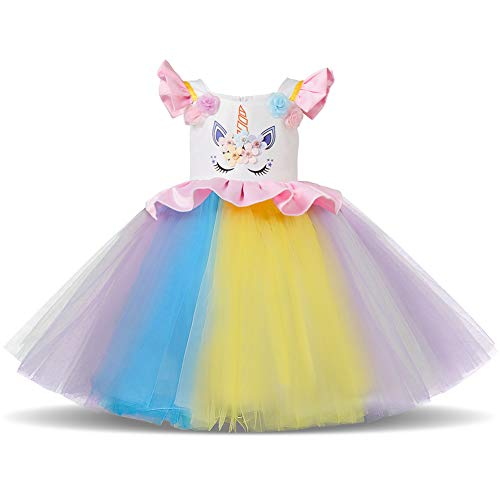 Girls Unicorn Dress up Costume Rainbow Tulle Tutu Skirt with Horn Headband Kids Birthday Outfit for Photo Shoot Cosplay Q# White+Pink Rainbow Dress 3-4 Years