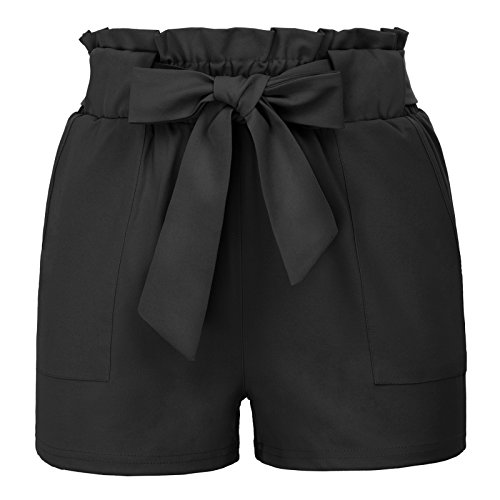 High Waist Loose Shorts with Belt XL Black-2 (Frill Shorts)