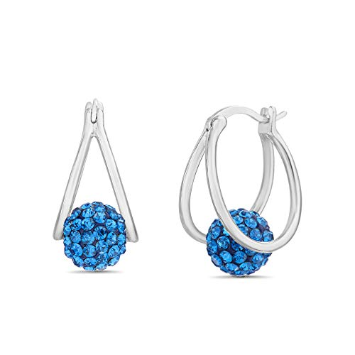 Plated Earrings Rhodium Brass - Devin Rose Crystal Ball Hoop Earrings for Women made With Swarovski Crystals in Rhodium Plated Brass (Blue)