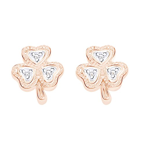 Round Cut White Natural Diamond Accent Lucky Clover Shamrock Stud Earrings in 10K Solid Rose Gold by Wishrocks