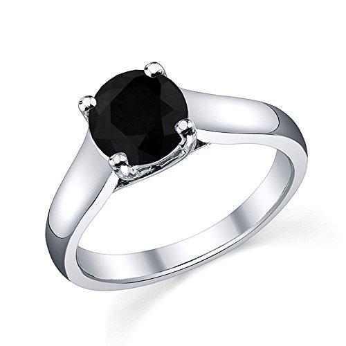 Offre spéciale.. 3,50carat Noir Lot de 4griffes diamant Bague Solitaire en Or Blanc lourds