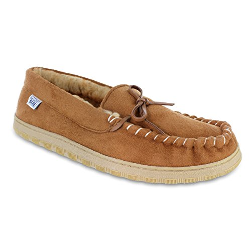 Rugged Blue Fleece Lined Moccasin Slippers Size 8