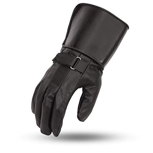 First Manufacturing Mens Chaser Crossover Race Leather Motorcycle Gloves with Gauntlet (Black, X-Large)