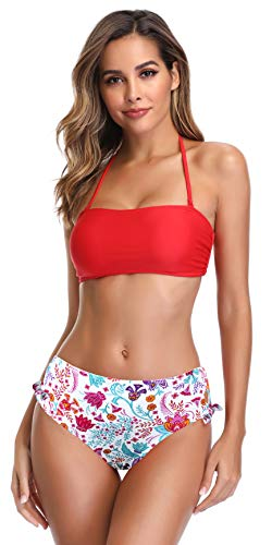 - SHEKINI Women's Bandeau Bikini High Waisted Tie Side Bottom Two Piece Swimsuits (Rose Red - A, Small)