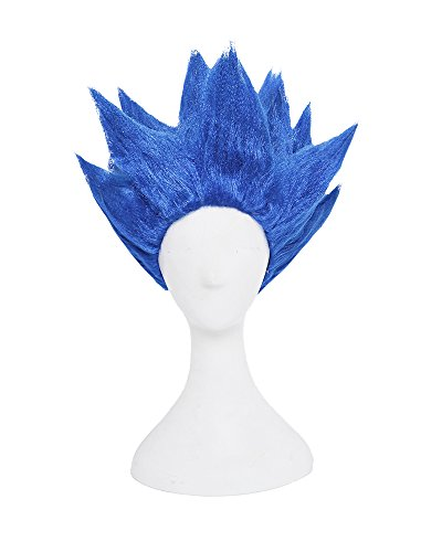 [Miccostumes Men's Dragon Ball Goku Cosplay Wig (Blue)] (Super Saiyan Goku Wig)