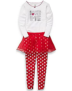 Carters Infant Girls Red Santa Love Me Outfit Pants Tutu Skirt Glitter Shirt