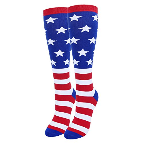 Women's Novelty American Flag Knee High Socks, Funny USA Flag Over the Calf Socks, Striped Boot Socks ()