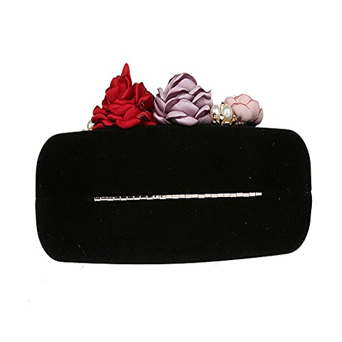 Pearl Clutch 3D Prom Black TOPCHANCES Purse Flower Red Clutches Handbags Elegant Wedding Beaded Satin Women Bride Bags Party Bags Evening for Rhinestone OxxT1wv5
