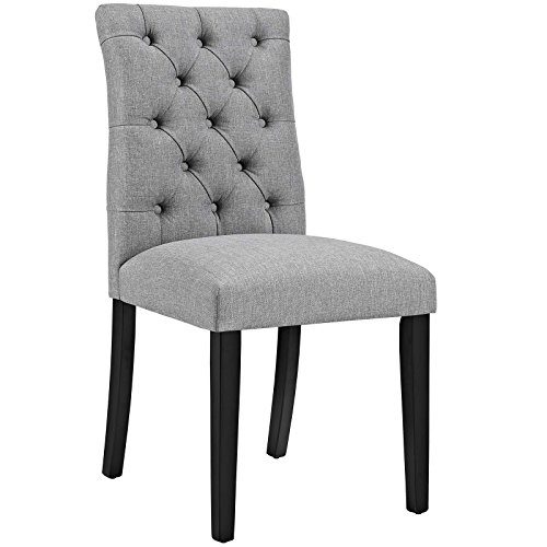(Modway Duchess Modern Elegant Button-Tufted Upholstered Fabric Parsons Dining Side Chair in Light Gray)