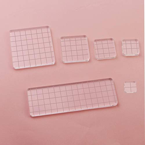 - Luckkyme 6 Pieces Acrylic Stamp Block Clear Stamping Tools Set with Grid Lines for Scrapbooking Crafts Card Making, 6 Sizes